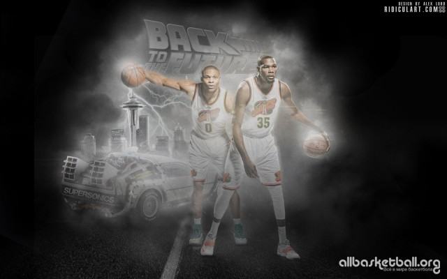 Russel Westbrook & Kevin Durant SuperSonics 2015 Wallpaper 1600x1000