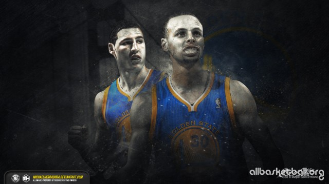 Steph Curry & Klay Thomphson Splash Brothers 2015 Wallpaper 1366x768