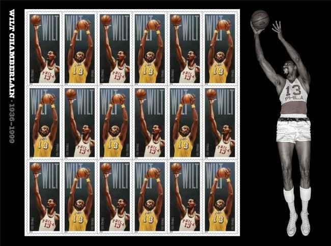 Уилт Чемберлен станет первым игроком, изображенным на почтовых марках