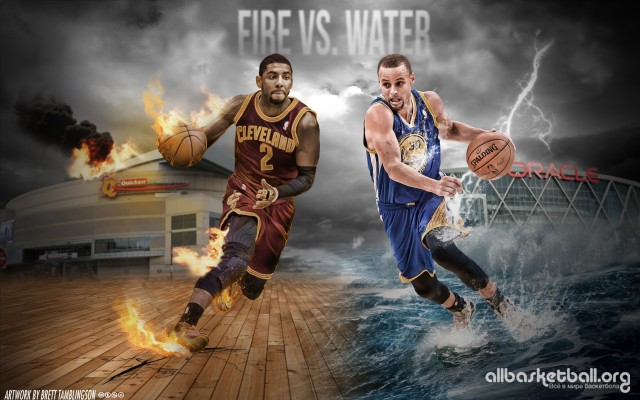Kyrie Irving & Steph Curry Fire vs. Water 2015 Wallpaper 2880x1800