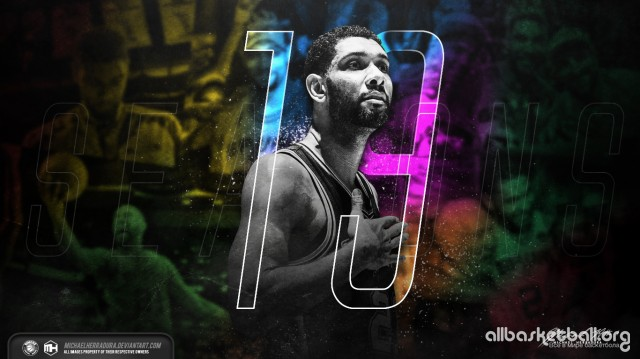 Tim Duncan 19th season 2015 Wallpaper 1366x768