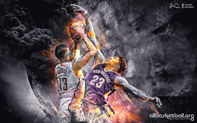 Paul George vs Anthony Davis 2015 Wallpaper 1600x1000