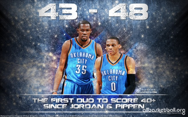 Kevin Durant & Russell Westbrook 40-40 Game 2015 Wallpaper 1920x1200