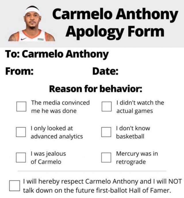 В интернете появилась форма для извинения перед Кармело Энтони